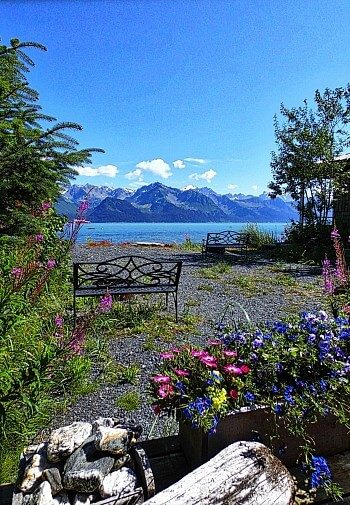 Opening near a cabin with one black wrought iron bench, pink and blue flowers overlooking a bay and tall mountains